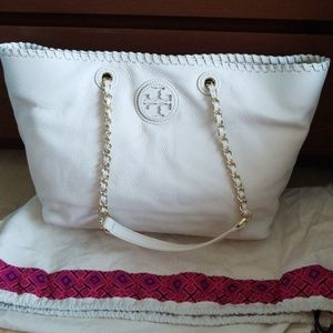 NEW Tory Burch white leather tote bag